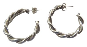 Tiffany & Co. 27mm Woven Cable Sterling Silver Open Hoop Earrings