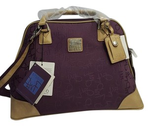 Diane von Furstenberg Lrg Zippered Spotted Plum and beige Travel Bag