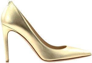 Valentino Studded Leather Gold Pumps