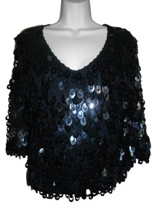 Other Metallic String Sequins V-neckline Top Black