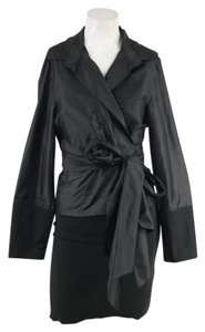 Vera Wang Black Silk Wrap Top