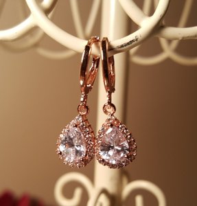 Sparkly Rose Gold Plated Cz Tear Drop Earrings