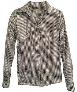 Banana Republic Button Down Shirt Navy Patterned