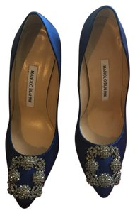 Manolo Blahnik Royal Blue with Crystal buckle Pumps
