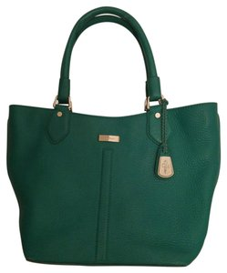 Cole Haan Leather Gold Hardware Tote in Green