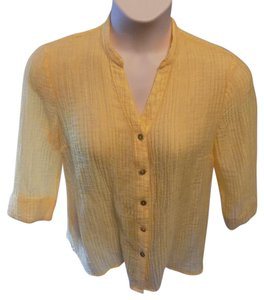 Kim Rogers Petite Solid Tencil Mandarin Collar Career Top Yellow