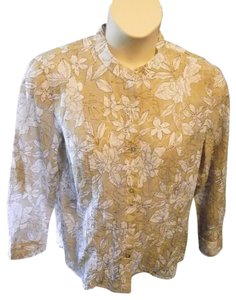 Alfred Dunner Mandarin Collar Casual Floral Longsleeve Top Beige and White