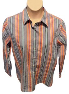 Foxcroft Cotton Petite Wrinkle Resistant Striped Button Down Shirt Multi-Colored