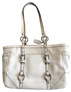 Coach Satchel in Ivory and Gold