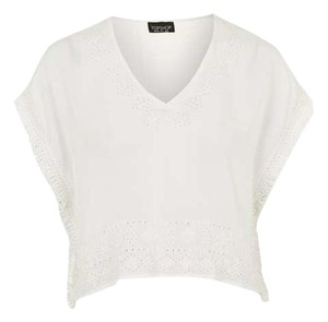 Topshop Embroidered Crop Spring Top white