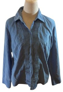 Talbots Petite Corduroy Casual Solid Button Down Shirt Blue