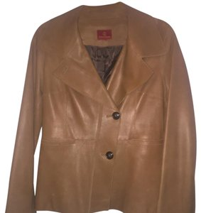 Cole Haan Beige/brown Leather Jacket