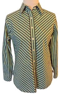 Foxcroft Petite Casual Longsleeve Button Down Shirt Green, Black and White