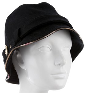 Burberry Black suede Burberry Nova Check trim Bucket hat