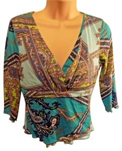 INC International Concepts Petite Casual Paisley Stretchy V-neck Top Aqua Multi-Color