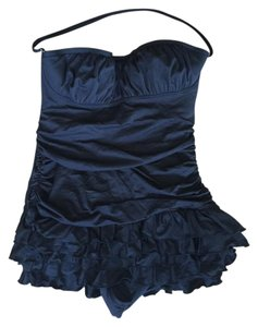 Juicy Couture Miss Softee Black Ruffle Swimdress Y86897