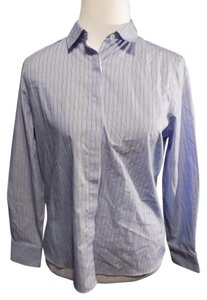 Lands' End Petite Casual Cotton Striped Button Down Shirt Blue