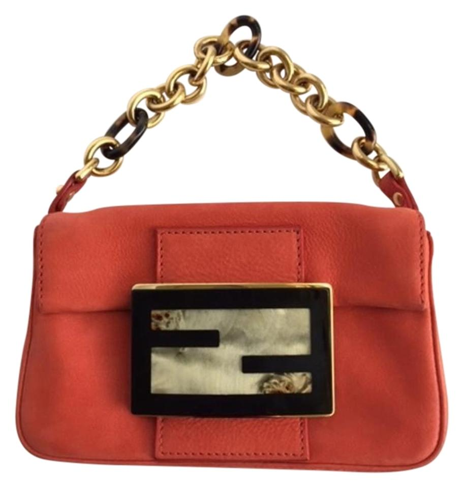 c472cdb368fe Fendi Mini Evening Orange Pearl Black Gold Leather and Metal ...