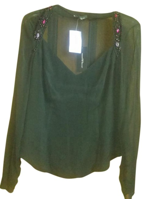 Item - Black Sheer with Stones Blouse Size 8 (M)