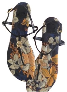 Tory Burch navy with yellow flowers Sandals