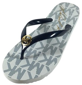 Michael Kors Jet Set Print Flip Flop Navy White Sandals