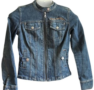 Harley Davidson Motorcycle Jean Denim Embroidered Motorcycle Jacket