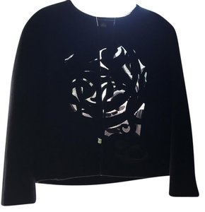 Ellen Tracy embroidery short black wool jacket