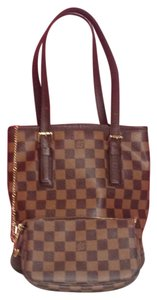Louis Vuitton Bucket Shoulder Tote in Damier Ebene