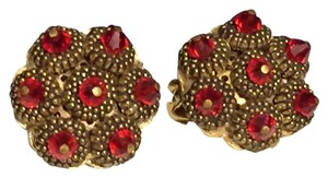 Hobe Hobe Red Beaded Cluster Clip On Earrings Gold