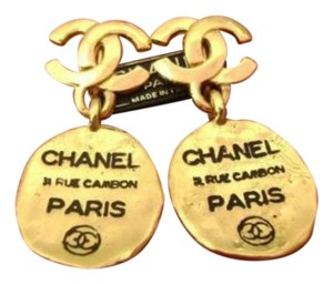 Chanel CHANEL 31 RUE CAMBON DROP CC LOGO EARRINGS GOLD PLATED