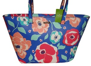 Kate Spade Zip Top Flowers Colorful Oversized Multifunction blue Travel Bag
