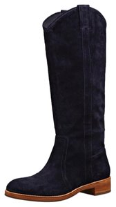 Via Spiga Cowboy Leather Suede Midnight/Navy Blue Boots