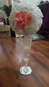 10 Beautiful Handmade Coral And White Rose Flower Ball Centerpieces With Gold Shimmer