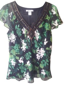 Nine West Beaded Silk Short Sleeve Top Green, Black
