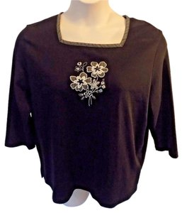 Alfred Dunner Petite Casual Whimsical Cotton 3/4 Sleeve Top Black