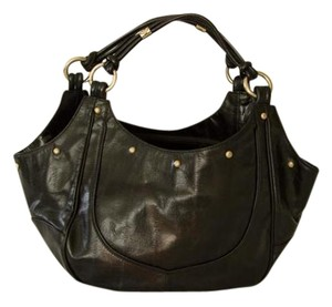 Emporio Armani Vintage Gold Hardware Studded Printed Leather Tote in Black