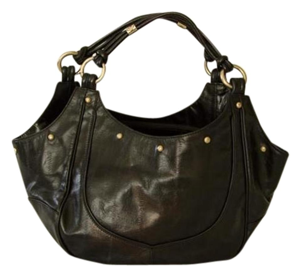 b47a18765a6d Emporio Armani Vintage Gold Hardware Studded Printed Leather Tote in Black  ...