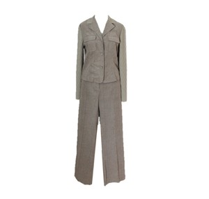 St. John Bayleaf Green Cotton & Knit Pant Suit