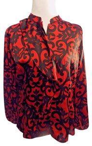 Worthington Petite Satin Career Top Red and Black
