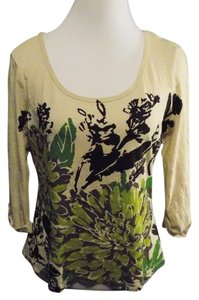 1 Madison Petite Scoop Neckline Cotton Casual 3/4 Sleeve T Shirt Beige, green, and blue