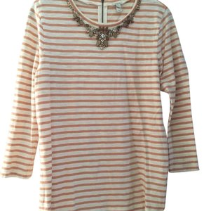 J.Crew Embellished Studded Striped T Shirt Blush