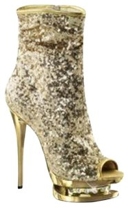 Pleaser Platforms Glitter Gold Boots