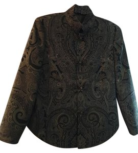 oriental style gree paisley frog closure jacket