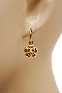 Chanel CHANEL GOLD TONE Camellia Flowers on small Pierced Hoop