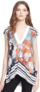 Clover Canyon V-neck Hawaii Flower Top Orange, Brown, black, blue