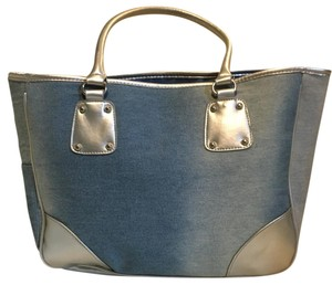 Neiman Marcus Denim Silver Tote in blue