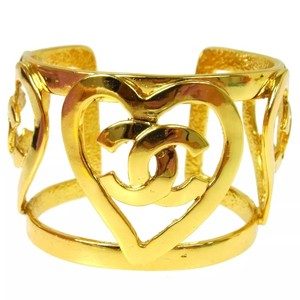 Chanel Rare Chanel Heart Cc Logo Bangle Bracelet