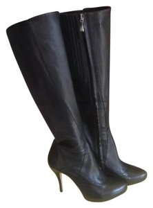 Max Studio Leather Stilleto Knee High Black Boots