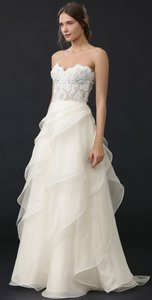 Reem Acra Ivory with Nude Lining Lace / Mesh / Organza She's In Love Formal Wedding Dress Size 2 (XS)
