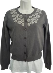 Boden Embroidered Gray Brown Neutral Hand Stitched Cardigan